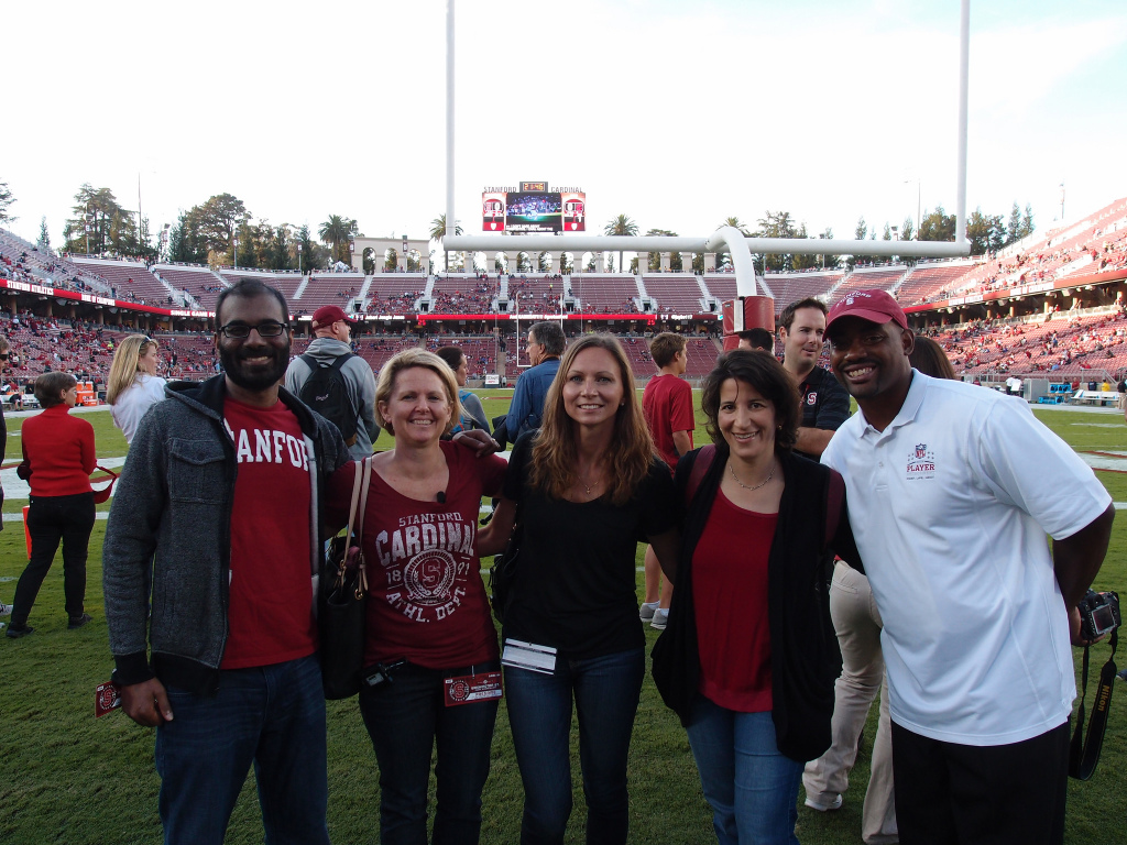 Paul Kalanithi, Molly Golbon, Andrea Gudmundsson, Lisa Goldman, Chris Draft. Stanford Stadium, October 2014.