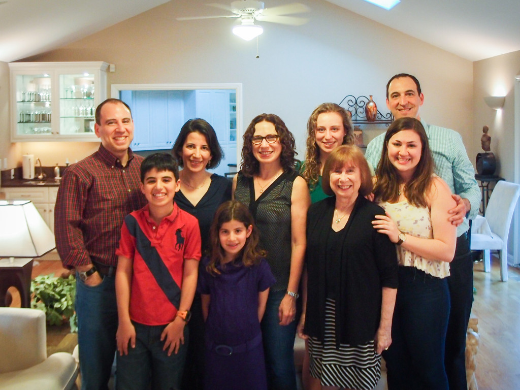 Family photo taken before our Passover Seder dinner on 4/3/15, just a few weeks before Gail passed away. (from L-R: Eric Goldman, Jacob Goldman, Lisa Goldman, Dina Goldman, Sandy Hirsh, Hayley Hirsh, Gail Schlachter, Leah Hirsh, Jay Hirsh)